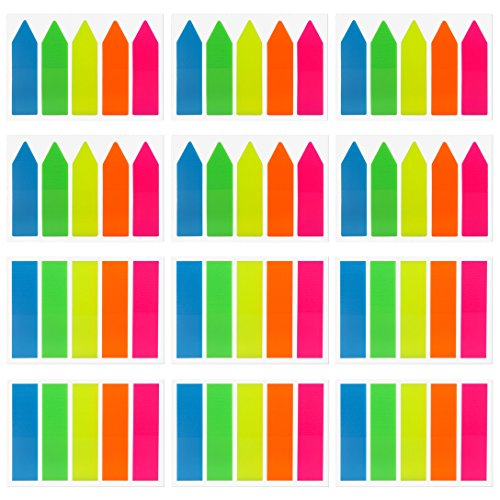 Antner 1200 Pieces Neon Page Markers Sticky Tabs Colored Index Tabs Flags, Fluorescent Sticky Notes for Page Markers, 12 Sets 2 Sizes]()