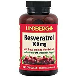 Lindberg Resveratrol with Grape and Red Wine Extracts, 100 Mg, 240 Capsules