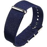 1pc 18mm Bande de Montre Bracelet Strap Variation Nylon Déployante Boucle Inox 36#