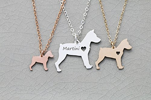 Miniature Pinscher Dog Necklace - Min Pin - IBD - Personalize with Name or Date - Choose Chain Length - Pendant Size Options - 935 Sterling Silver 14K Rose Gold Filled Charm - Ships in 1 Business Day
