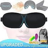 Sleep Mask,Upgraded 100% Light Blocking 3D Eye Mask Sleeping with Hidden Alar,Deep Cavity,Contoured Shape,18 Grams for Insomnia,Travel,Naps + NRR33 db Noise Cancelling Ear Plugs
