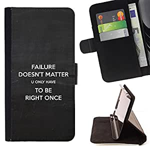 BullDog Case - FOR/Sony Xperia Z1 Compact D5503 / - / failure doesn't matter right inspiring quote /- Monedero de cuero de la PU Llevar cubierta de la caja con el ID Credit Card Slots Flip funda de cuer