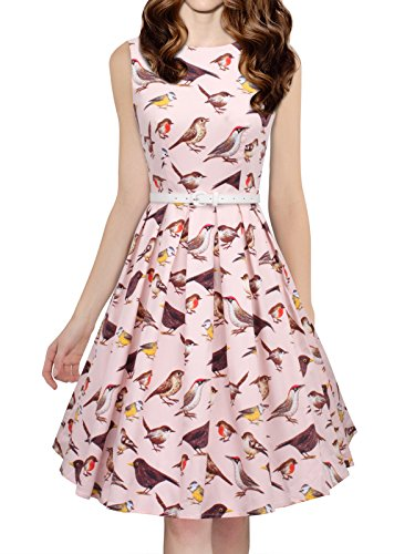 Bird Sleeveless (LUOUSE Womens Vintage 1950s Sleeveless birds print Cocktail Party Swing Dresses, Promo Price-68-pink, Small)