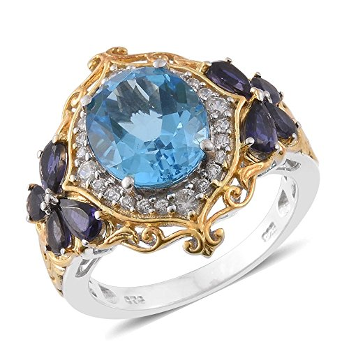 Sterling Silver 14K Yellow Gold Platinum Plated 6.6 Cttw Oval Blue Topaz Iolite Zircon Gift Ring Size (14k Gold Iolite Ring)