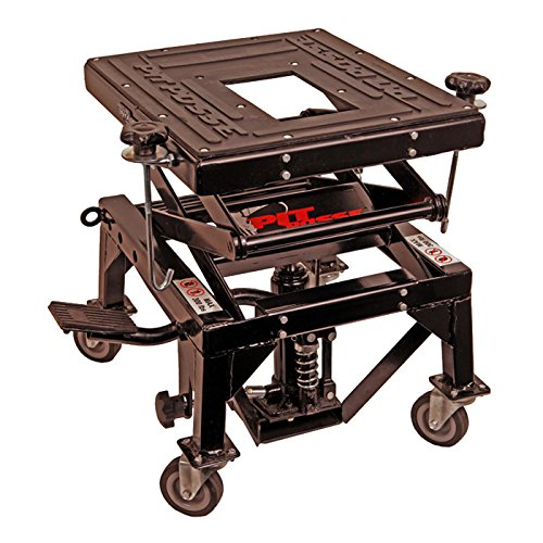Pit Posse Motorcycle ATV Scissor Floor Jack Lift Table Stand with Caster Wheels 13 inches Thru 36-inch-High - Stable - Safe - Comfortable - 2 Years Warranty