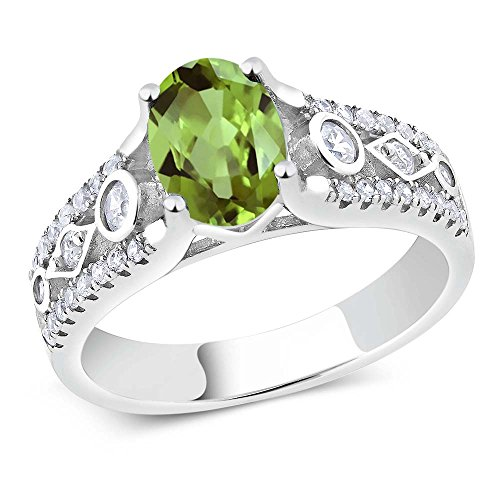 925 Sterling Silver Green Peridot Women's Engagement Ring 1.89 Ct Oval Gemstone Birthstone (Size (Olive Green Cocktail Ring)