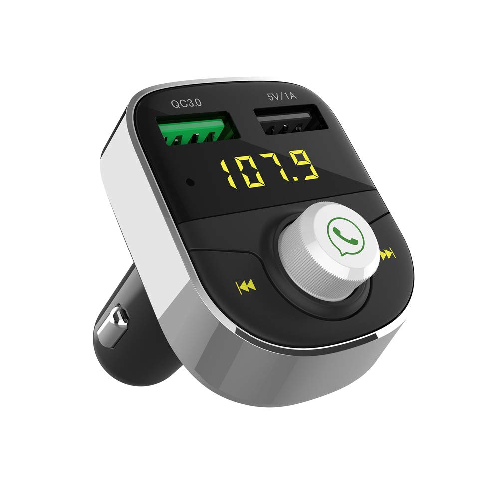 FM Transmitter, Bluetooth FM Transmitter Wireless Radio Adapter Handsfree Car Kit with Dual USB Ports, Quick Charge 3.0 and USB Playing Supportable GRDE