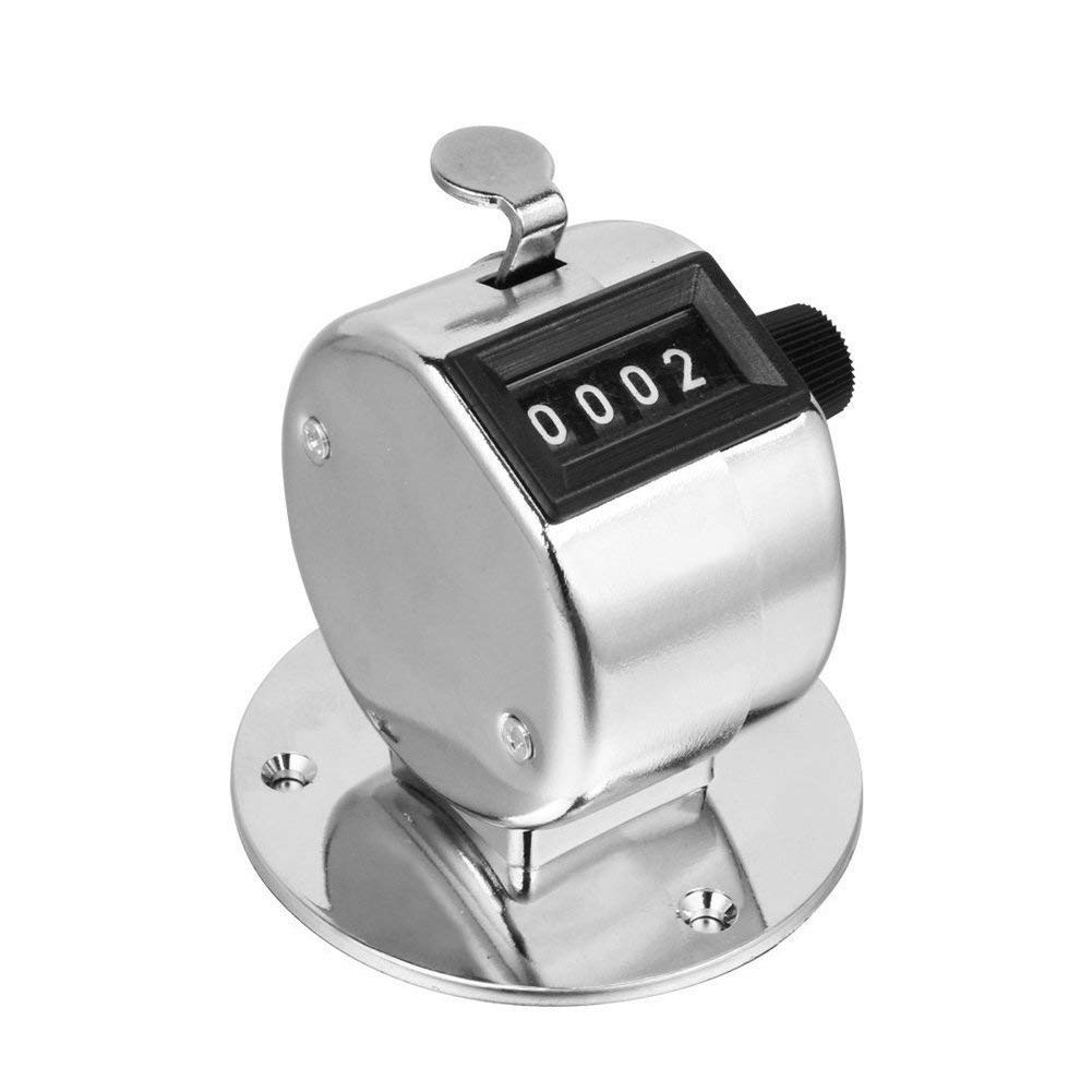 Desk Tally Counter with Stand, Metal Desktop Mechanical Tally Meter with Base Mount, Resettable Manual 4 Digit Registers 0-9999 Clicker Counter with Chrome Plated for Bank Counter Event On Tracker