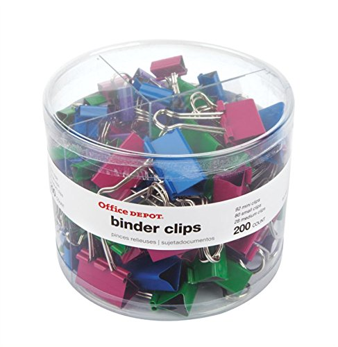 Office Depot Brand Binder Clip Combo Pack, Assorted Sizes, Assorted Colors, Pack of 200