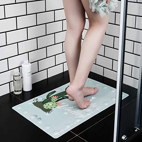 UNIKON Original Bath, Shower, and Tub Mat, Bathroom Anti-Slip, Antibacterial, Easy Washable PU Mats, Cactus Printed (23.5