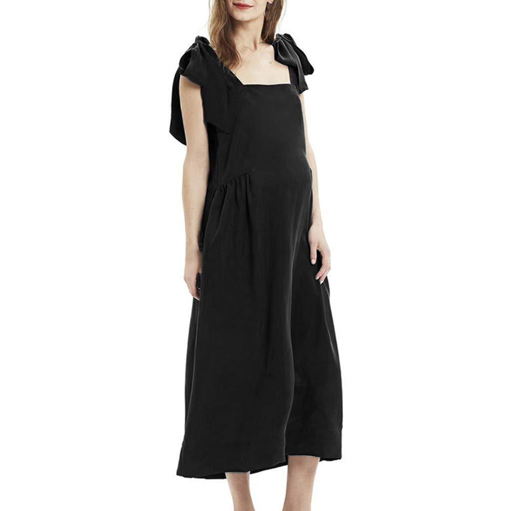 Huifa Maternity Unique Dress Pregnant Camisole Bow Bandage Pure Sleeveless Dress (Black,XXL)