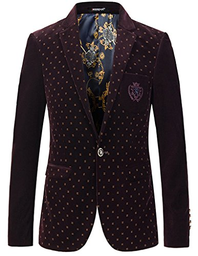 Porlox Mens Stylish Peaked Lapel Corduroy Blazer Jacket Wine Red,US XS / Label L (Peaked Lapel Jacket)