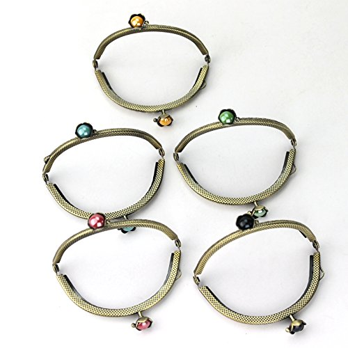 Kissdiy 5PCS Dia. 3.3 inch Retro Metal Frame Purse Coin Bag Kiss Clasp Lock DIY Craft Assorted Lotus Bead