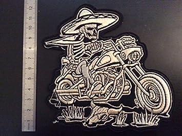 THERMOCOLLANT ECUSSON PATCHES AUFNAHER TOPPA BIKER MEXICAIN SQUELETTE