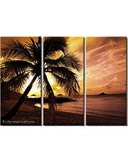 Picture Sensations Framed Huge 3-Panel Palm Tree Sunset Beach Hawaii Giclee Canvas Art