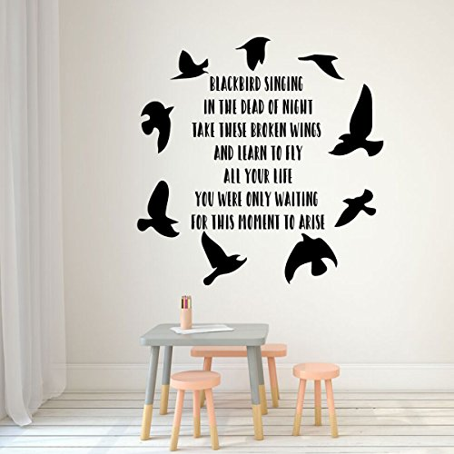 Beatles Blackbird Wall Decal - Inspirational Song Lyrics Vinyl Lettering with Bird Silhouettes - Music Themed Mural -