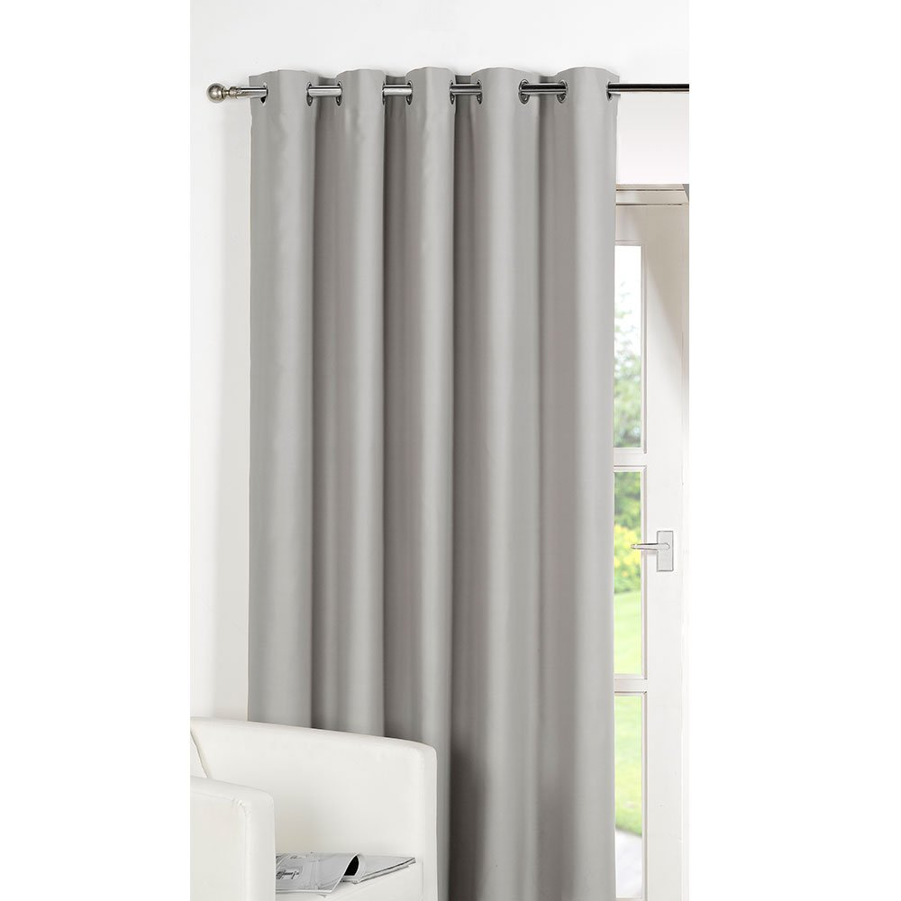 Dreamscene Luxury Ring Top Fully Lined Blackout Eyelet Thermal Door Curtain Silver 66 X