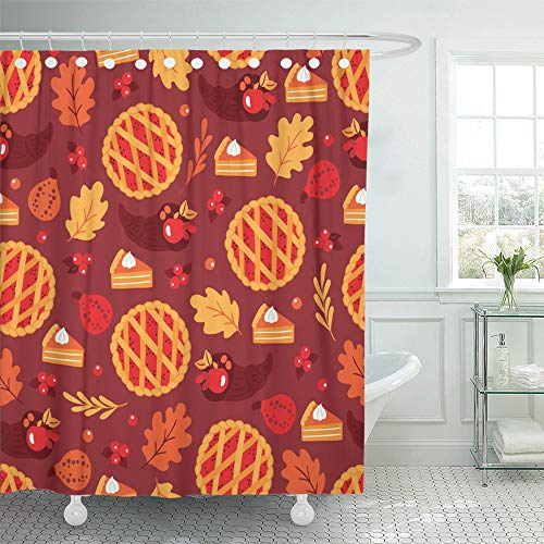 Emvency Shower Curtain Waterproof Adjustable Polyester Fabric Thanksgiving Day with Pumpkin Pie Cranberry Branches Cornucopia Oak Leaves 66 x 72 Inches Set with Hooks for Bathroom