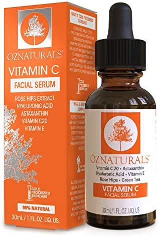OZNaturals Vitamin C Serum for Face: Vitamin C 20 Facial and Under Eye Serum with Hyaluronic Acid - Wrinkle Remover Serum to Even and Tone Skin - Anti Aging and Brightening Skin Care Serums - 1 Fl Oz