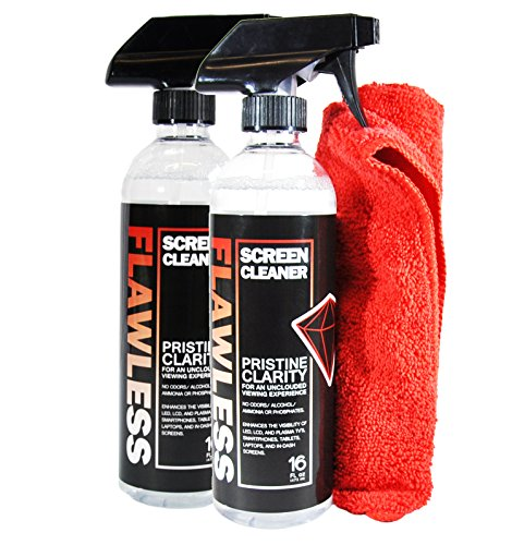 Flawless Screen Cleaner Spray with Microfiber Cleaning Cloth for LCD, LED Displays on Computer, TV, iPad, Tablet, Phone, and More (16oz 2 Pack)