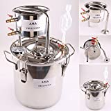 WMN_TRULYSTEP DIY Home Distiller Moonshine Still Stainless Boiler Thermometer Wine Spirits Essential Oil Water Brewing Kit (Stainless Steel, 20 Litres / 5 Gallon)