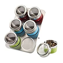 Stainless Steel Magnetic Containers Multipurpose Spice Tin Rack Perfect Kitchen Storage 6 Piece Set (Color)