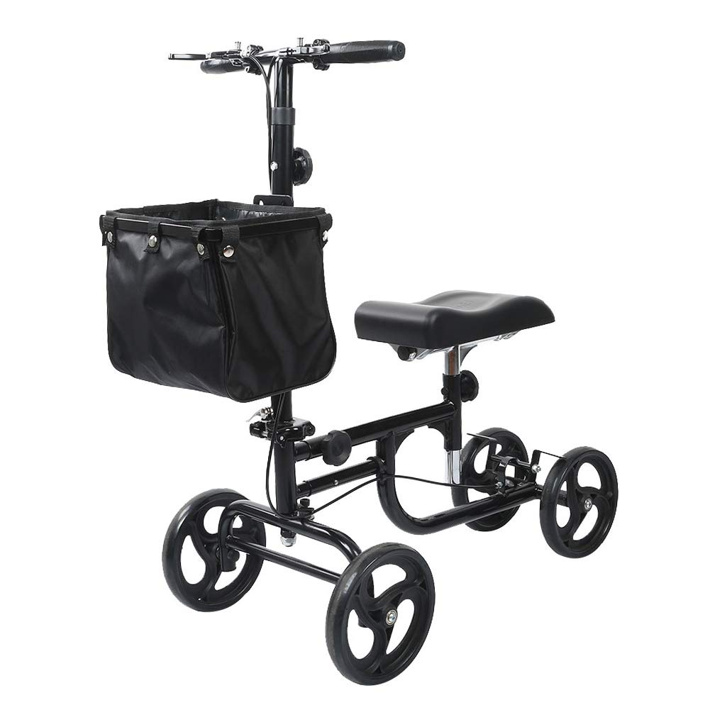 ELENKER Steerable Knee Walker Deluxe Medical Scooter for Foot Injuries Compact Crutches Alternative Black by ELENKER