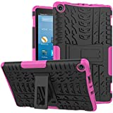 WFiveelectronics Fire HD 8 Tablet case (7 Generation, 2017 Edition), three-layer hybrid heavy-duty anti-skid shock HD 8 screen protection film (Pink)