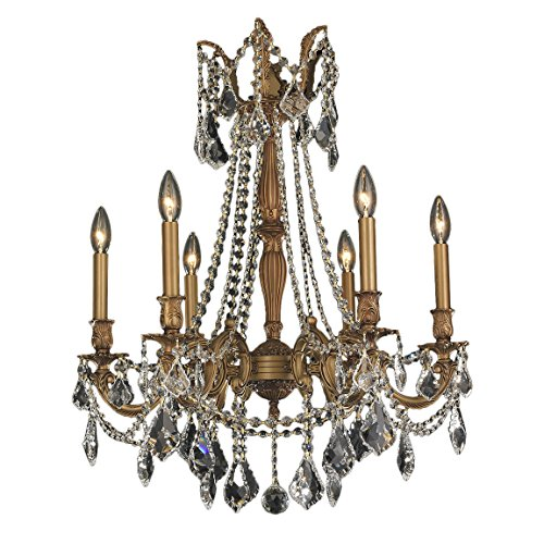 Worldwide Lighting Windsor Collection 6 Light French Gold Finish and Clear Crystal Chandelier 23