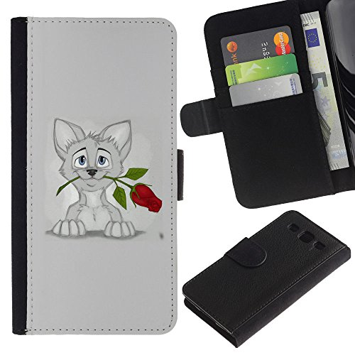 EuroCase - Samsung Galaxy S3 III I9300 - sweet cat kitten grey art drawing rose - Cuero PU Delgado caso cubierta Shell Armor Funda Case Cover
