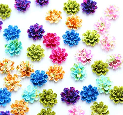 Resin Flowers,QianCraftKits Layered Daisy Flower Resin Flatback Cabochon for DIY Phone Case/Scrapbooking/Craft Decoration 12mm(140pc,7colors)