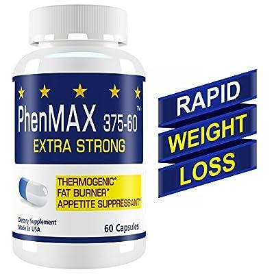 PhenMax 375 Diet pills. Thermogenic Fat Burner. Suppress Appetite, Burn Fat. Maximum Energy for Men and Women. 60 pills