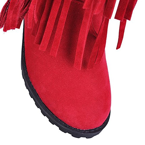 Toe Heels Low Solid Frosted Women's Pull Closed Allhqfashion On Boots Red Round EtqYnUx5Ow