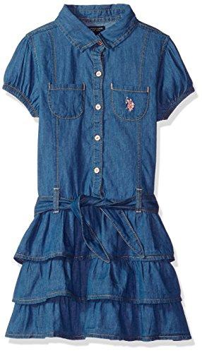 Dress Front Ruffle (U.S. Polo Assn. Girls' Toddler Casual Dress, Button Front Ruffles Blue wash, 4T)
