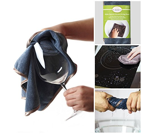 SUPER Microfiber Glass Wine Polishing Cloth and Lint Streak Free Drying Towel (2 Pk) | Cleaning and Kitchen Drying Glass, Wiping, Wine Glasses, Stemware | Absorbent Dish Cloths Towels