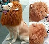 Dragonpad Pet Costume Lion Mane Wig with Ears for Dog Cat Halloween Clothes Fancy Dress up (Light Brown, L)