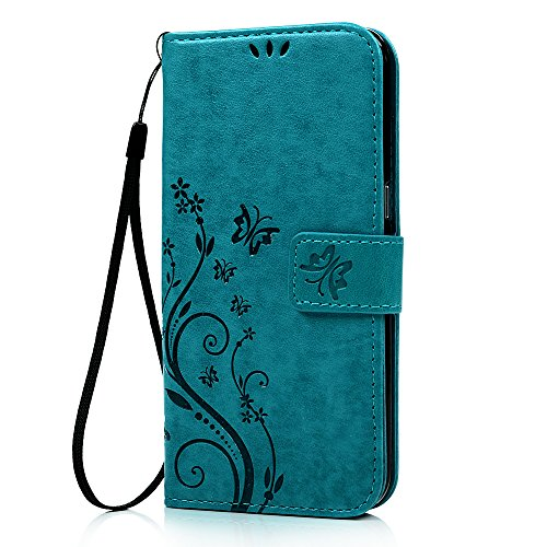 Galaxy S7 Edge Wallet Case - Mavis's Diary Fashion Floral Butterfly Embossed PU Leather Magnetic Flip Cover Card Holders & Hand Strap for Samsung Galaxy S7 Edge with Bling Dust Plug & Pen - Blue