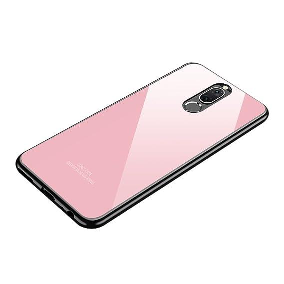 grande vendita 2ae61 2ebd1 Huawei Mate 10 lite case, Huawei Nova 2i case, Tempered Glass Back Cover +  Soft Silicone Bumper Full Body Protection Shockproof Cover Case for Huawei  ...