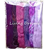 Magic Wool Fiber for Needle Felting Wool Fairies, Angels, Mermaids and Waldorf Dolls. Super soft Merino Roving, hand dyed BFL Luster Wool and sparkling Firestar. Multi Fiber Sampler 1oz Purple Multi