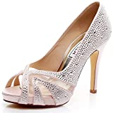 Luxveer Satin Bridal Shoes With Silver Rhinestone Medium Heel 4inch-peep Toe (5, Pink) | amazon.com