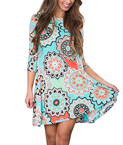 Women's 3/4 Sleeve Floral Printed Tunic Dresses Long Shirts Blouses Tunic Tops for Leggings