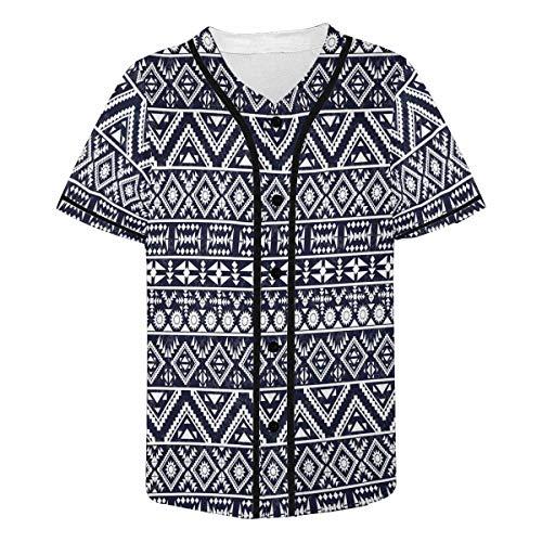 (INTERESTPRINT Men's Black White Tribal Aztec Baseball Jersey T-Shirts Plain Button Down Sports Tee S)