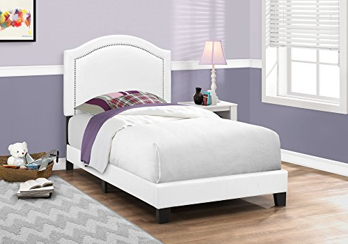Monarch Specialties I 5939T Bed Size Leather-Look with Chrome Trim, Twin, White - Leather Look Frame