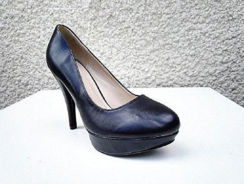 Escarpin talon aiguille haut a plateforme femme chaussure cuir simili K421-2 NOIR
