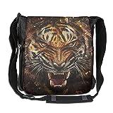 ROCHELLE AYOKO Men's Women's Messenger Bags Big Cat Tiger Glass Single Shoulder Bags Large CapacityDrawstring Backpack For Traveling Shopping School