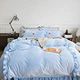 """LUCKIEY Bed in a Bag-Home Textiles Duvet Cover Sets,4 Pieces Bedding Set Thick Warm Winter bedding Sheets set (Blue, 86""""x94"""")"""