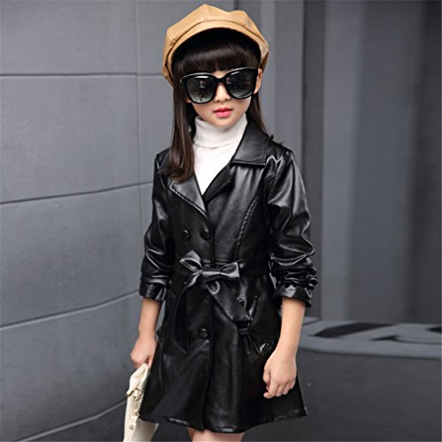 Girls Lapel Double-Breasted Faux Leather Windbreaker Trench Coat by SKY-ST (Image #1)