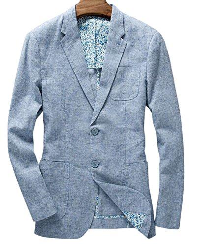 Chouyatou Men's Lightweight Half Lined Two-Button Suit Blazer (X-Large, Blue) (Men Blazer Light Blue compare prices)