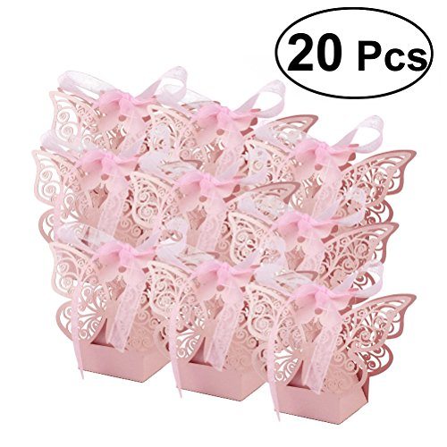 OULII Laser Cut Romantic Butterfly Candy Boxes DIY Gift Sweet Boxes with Ribbons for Wedding Birthday Party Favor 20pcs (Pink)