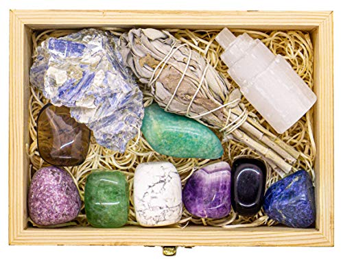 Premium Grade Crystals and Healing Stones for Relaxation, Stress, Anxiety Relief, Sleep in Wooden Box - Amethyst, Lepidolite, Fluorite, Smoky Quartz Gemstones, Selenite, Sage Smudge Stick + Info Guide